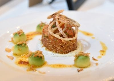 City of Liverpool Starter - Spiced, Quinoa Salad with Avocado, Tomato Compote, Crispy Shallots and a Raita Dressing