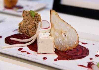 Glasgow Clyde Starter - Panna Cotta of Vegetarian Goats Cheese, Soused Beetroot, Chia Seed, Walnut and Sea Salt Cracker, dried pear and Spiced Reduction