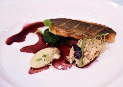 Loughborough College Main - Pan Roasted Seabass with Jerusalem Artichoke Puree, Flageolet and Butter Beans, Roasted Garlic, Red Wine Reduction