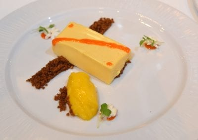 Loughborough College Dessert -Jasmine and Orange Parfait, Mango Sorbet