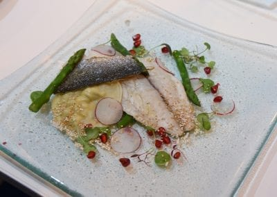 Blackpool and the Fylde Main - Gilt Head Sea Bream, Ensemble of Pea and Spring Onion Puree, Asparagus