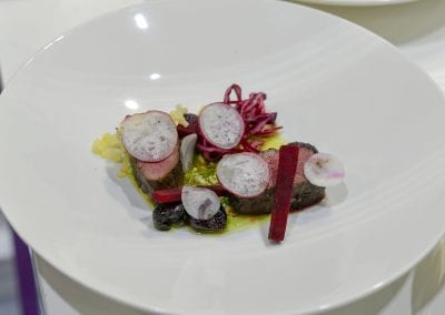 City of Glasgow College Starter - Smoked and Spiced Roe Deer, Beetroot, Radish, Grape, Hazelnut Vinaigrette