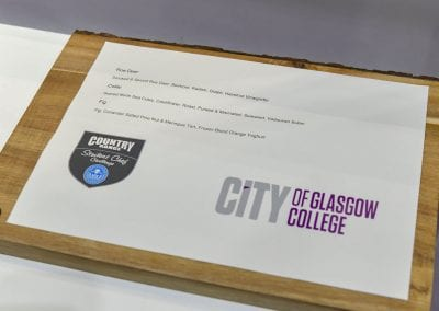 City of Glasgow College Winning Menu