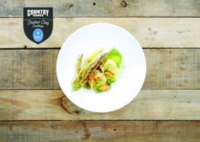 Highbury College Starter - Lymington Crab Tortellini, Gem Lettuce, Mussel Saffron Broth