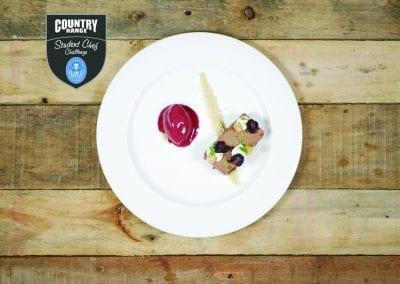 Loughborough College Dessert - Dark Chocolate marquise, scented fennel seed, hazelnut praline crumb, black currant sorbet