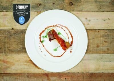 Loughborough College Starter - Braised Pig Cheek, crispy bon bon, celeriac, star anise and apple compote