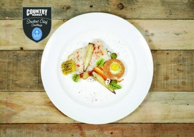 Loughborough college Main - Roast Cod loin, corn 3 ways, chilli sambal garlic and coriander scented bisque