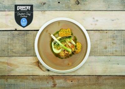Newbury College Starter - Spiced pan-fried Cornish mackerel fillet, lentils, cauliflower, braised leeks and thyme
