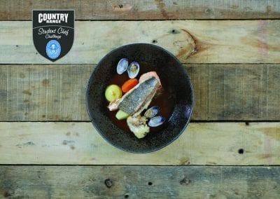 Newcastle College Starter - France - Bream, clams, sea trout, prawns, tempura oyster, saffron mayonnaise, tomato tarragon boullion