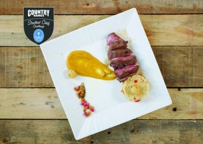 Newcastle Main - Morocco Ras el hanout marinated lamb rump, roasted pepper cous cous, spiced butternut puree, pomegranate, apricot and peppermint salsa